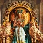 painting of cleopatra n her throne with two leopards by her side
