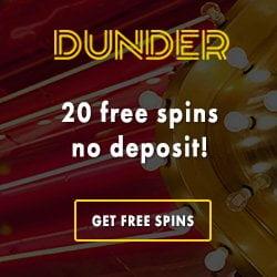 Dunder Casino 20 Free Spins No Deposit