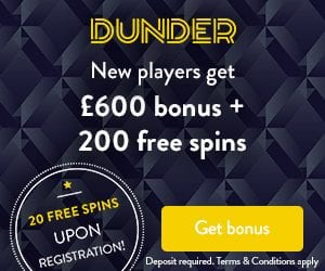 Dunder Casino 20 free spins - best pay out