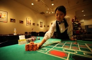 a female roulette dealer