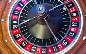 a black and white roulette wheel