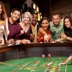 a group of people gambling