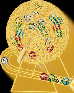 a yellow bingo wheel spinning