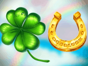 golden horseshoe and green four-leaved clover floating Slot Machines