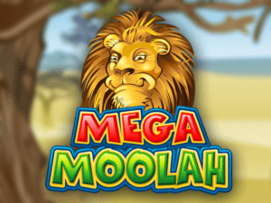 an image of the game mega moolah with a lion smiling on the cover and a blurred background