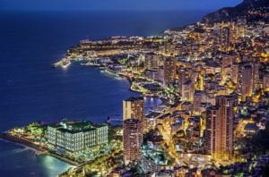 monte carlo at night, colorful buildings The Lucky City