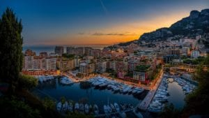 monte carlo at dawn, with its buildings and the sea The Lucky City