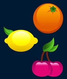 a picture of orange, lemon and pink cherry on a blue background Slot Machines